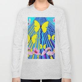 MODERN ART YELLOW BUTTERFLIES PINK FLOWERS BLUE PATTERN Long Sleeve T-shirt