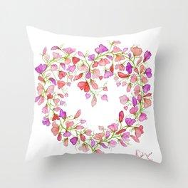Heart themed- Sweet Pea Heart Wreath Throw Pillow