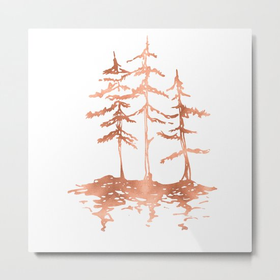 Three Sisters Trees Rose Gold on White Metal Print
