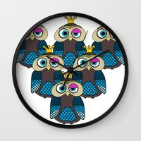 minions Wall Clocks featuring Owl Minions  by Gabriel J Galvan