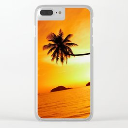 Lone Palm Sunset Clear iPhone Case