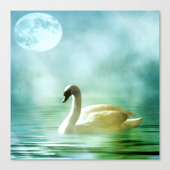 Moonlit Swan Canvas Print
