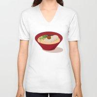 ramen V-neck T-shirts featuring Ramen (Akamaru Chashu) by Hello Fever