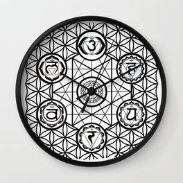chakras sacred geometry grid Wall Clock