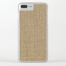 Natural Woven Beige Burlap Sack Cloth Clear iPhone Case