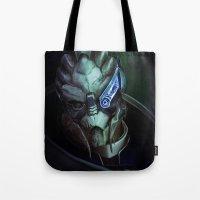 mass effect Tote Bags featuring Mass Effect: Garrus Vakarian by Ruthie Hammerschlag