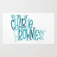 charlie brown Area & Throw Rugs featuring Charlie Browniest by Chelsea Herrick