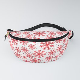 Christmas snowflakes with paw prints red pattern Fanny Pack