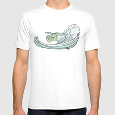 Surfin' Sloths  MEDIUM White Mens Fitted Tee