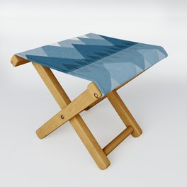Calming Winter Abstract Geometric Mountains and Pine Trees with Reflections in Blue and Beige Tones Folding Stool