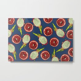 Pomegranate - Dragon Fruit Pattern blue Metal Print