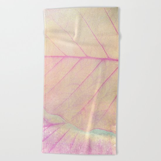 Pink Leaf Abstract Beach Towel
