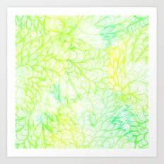 Gradient Floral Pattern 07 Art Print