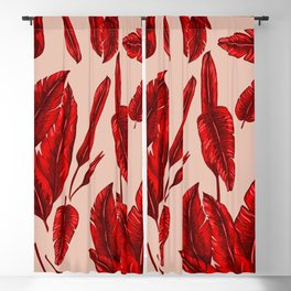 Red Banana Leafs Blackout Curtain