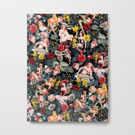 Floral and Pin-Up Girls IV Metal Print