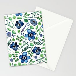 Watercolor Anemones and Greenery Stationery Cards