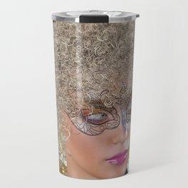 Afro Blonde Beautiful Masked Face Travel Mug