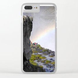 Iceland Rainbow Waterfall Clear iPhone Case