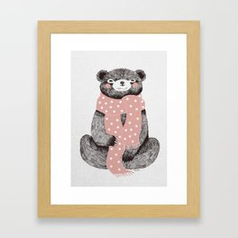 OSO, the bear with the big scarf.  Framed Art Print