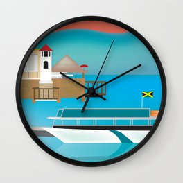 Jamaica - Skyline lllustration by Loose Petals Wall Clock