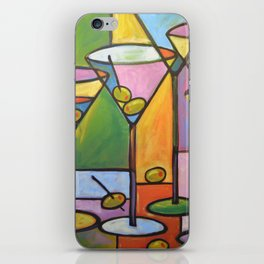 Abstract Art Wine Bar Alcohol Painting ... Martinis and Olives iPhone Skin