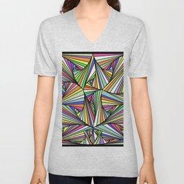 Multi Colored Line Drawing Illusion Unisex V-Neck