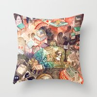spirited away Throw Pillows featuring Spirited Away by Foya