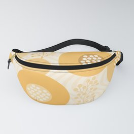 Modern Abstract Flowers Muted Orange Circles on Wavy Background Fanny Pack
