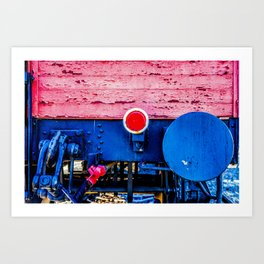 Old Freight Car Back Wall, Bumper And Red Reflector Art Print