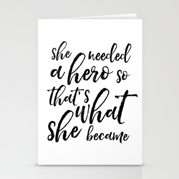 GIRLS ROOM DECOR, She Needed A Hero So That's What She Became,Girls Bedroom Decor,Women Gift,Nursery Stationery Cards