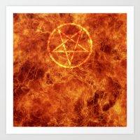 pentagram Art Prints featuring PENTAGRAM by JYELtheREAL-ADHDninja