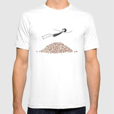 Eloise jumps in a pile of leaves Mens Fitted Tee White SMALL