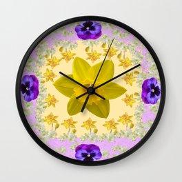 PURPLE PANSIES & DAFFODILS FLOWERS GARDEN MODERN ART Wall Clock