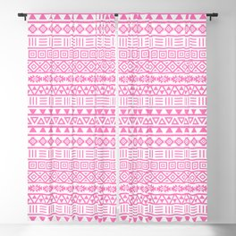 Aztec Influence Pattern Pink on White Blackout Curtain