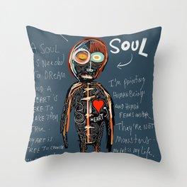 Heart and Soul street art graffiti art brut painting Throw Pillow