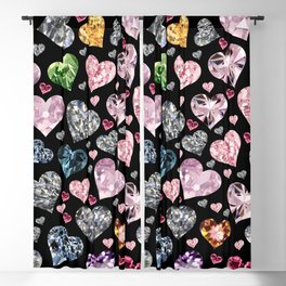 Heart Diamonds are Forever Love Black Blackout Curtain