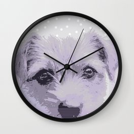 Curious little dog waiting for you - funny dog portrait Wall Clock