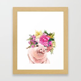 Flower Crown Baby Pig Framed Art Print