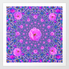 ORNATE THOUSANDS PINK ROSES & BLUE  ABSTRACT Art Print