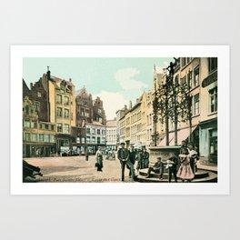 Antwerp Belgium city center restored view around 1900 Art Print