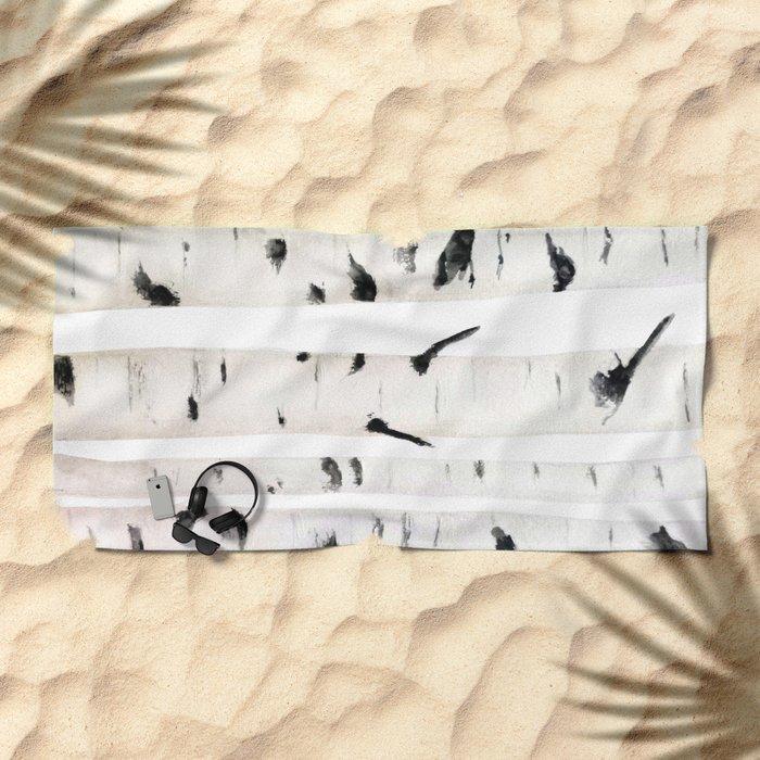 birch  watercolor Beach Towel