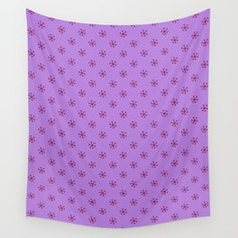 Burgundy Red on Lavender Violet Snowflakes Wall Tapestry