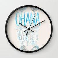 ohana Wall Clocks featuring OHANA by Sara Eshak