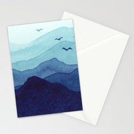 Rolling mountains fade into the mist. Watercolor. Stationery Cards