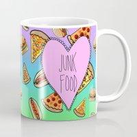 junk food Mugs featuring JUNK FOOD by SteffiMetal