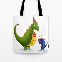 dinosaurs Tote Bags featuring Dinosaurs by IllustrateLucy