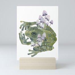 frog & mushrooms Mini Art Print