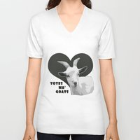 totes V-neck T-shirts featuring Totes Ma Goats - Grey by BACK to THE ROOTS