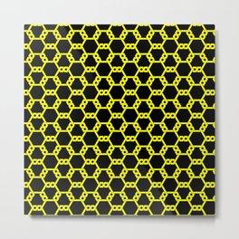 Yellow Freeman Lattice on Black Metal Print