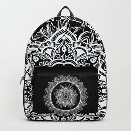 Bohemian Lace Paisley Mandala White on Black Backpack